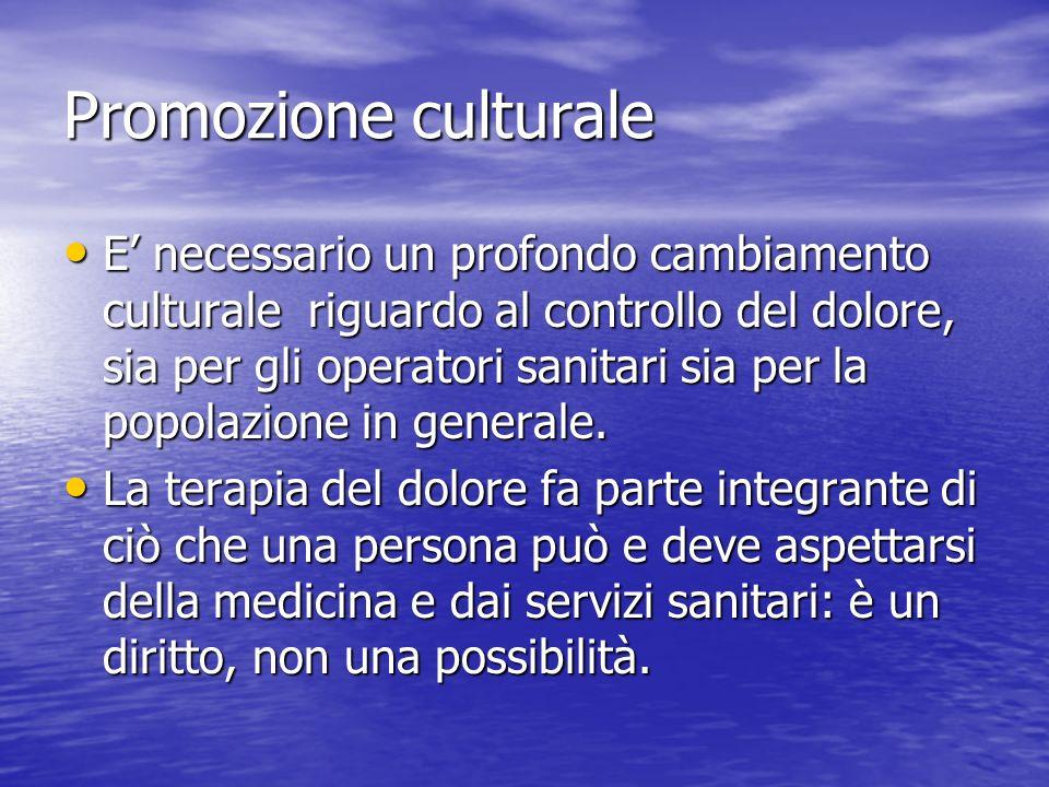 Promozione culturale E necessario un profondo cambiamento culturale riguardo al controllo del dolore, sia per gli operatori sanitari sia per la popola