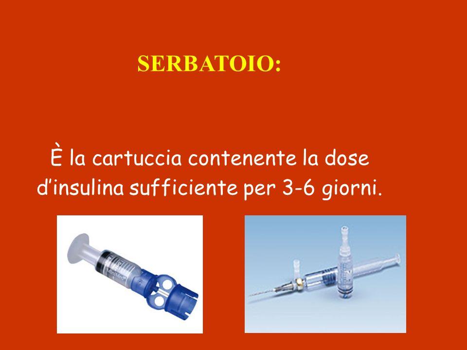 SERBATOIO: È la cartuccia contenente la dose dinsulina sufficiente per 3-6 giorni.