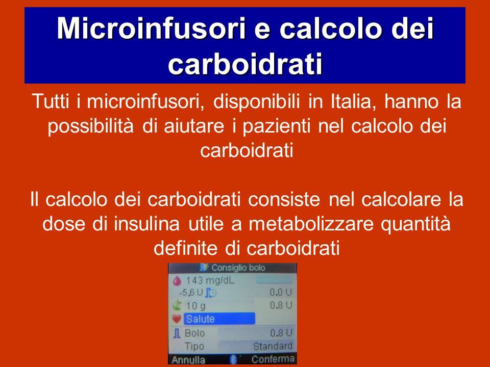 Microinfusori e calcolo dei carboidrati Tutti i microinfusori, disponibili in Italia, hanno la possibilità di aiutare i pazienti nel calcolo dei carbo