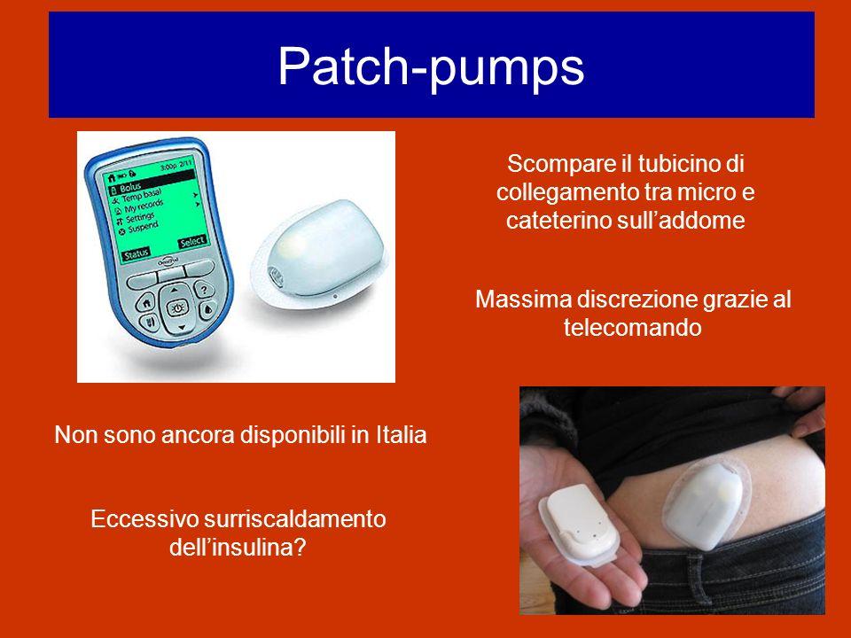 Patch-pumps Scompare il tubicino di collegamento tra micro e cateterino sulladdome Massima discrezione grazie al telecomando Non sono ancora disponibi