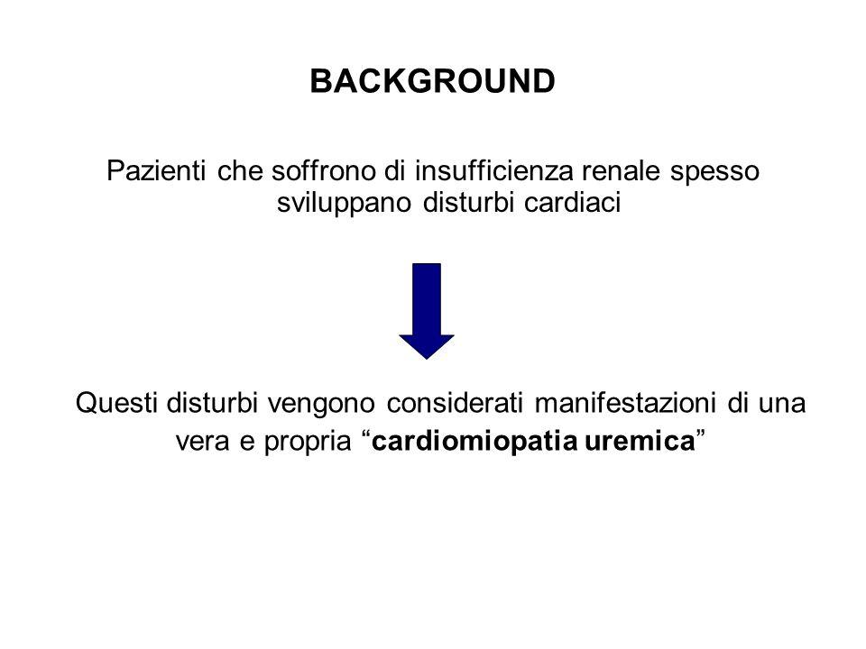 BACKGROUND Pazienti che soffrono di insufficienza renale spesso sviluppano disturbi cardiaci Questi disturbi vengono considerati manifestazioni di una