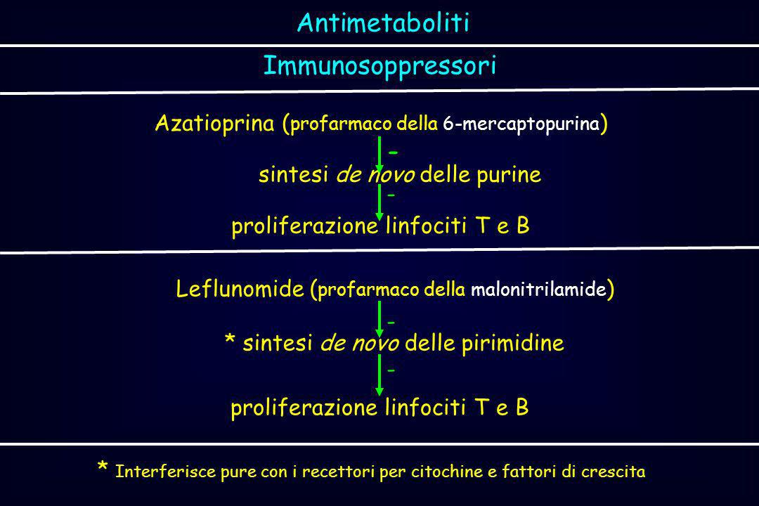 Immunosoppressori Azatioprina ( profarmaco della 6-mercaptopurina ) sintesi de novo delle purine proliferazione linfociti T e B Antimetaboliti - - Lef
