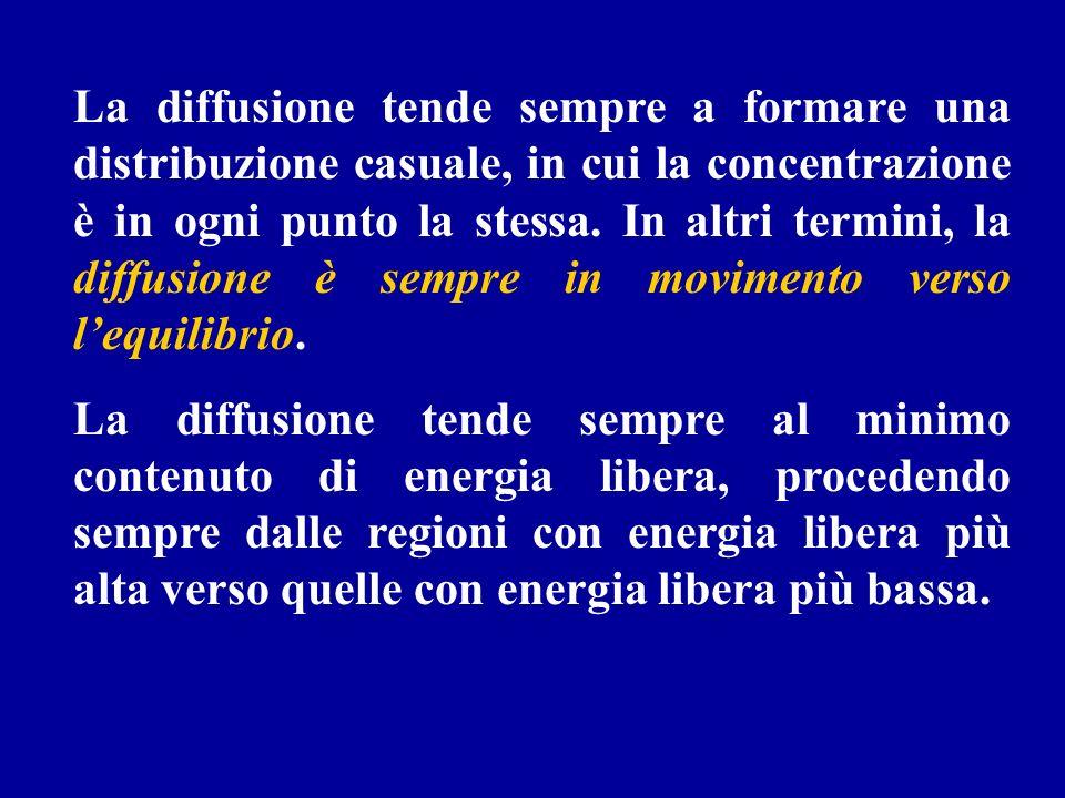 La diffusione tende sempre a formare una distribuzione casuale, in cui la concentrazione è in ogni punto la stessa. In altri termini, la diffusione è