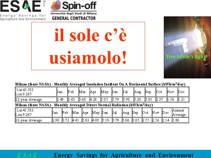 E S A E Energy Savings for Agriculture and Environment free brains light! il sole cè usiamolo!