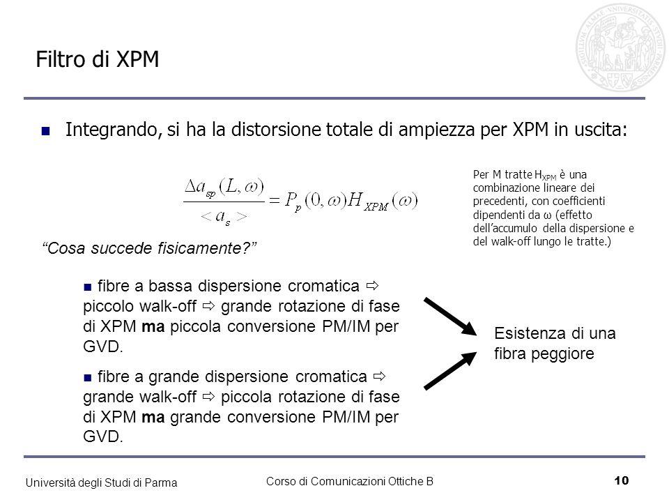 Università degli Studi di Parma Corso di Comunicazioni Ottiche B11 Risultato: filtro di XPM Risultato dellinterazione GVD/NL locale della fibra: quadratica in ω (walk-off è invece lineare) Dispersione accumulata totale: effetto globale.