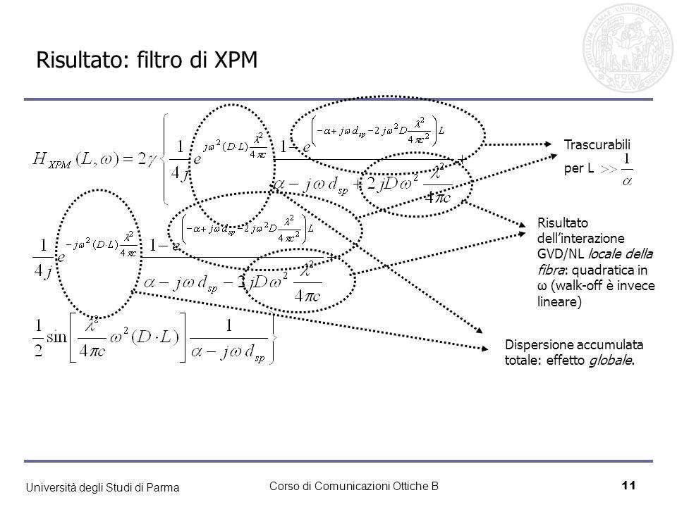 Università degli Studi di Parma Corso di Comunicazioni Ottiche B11 Risultato: filtro di XPM Risultato dellinterazione GVD/NL locale della fibra: quadr