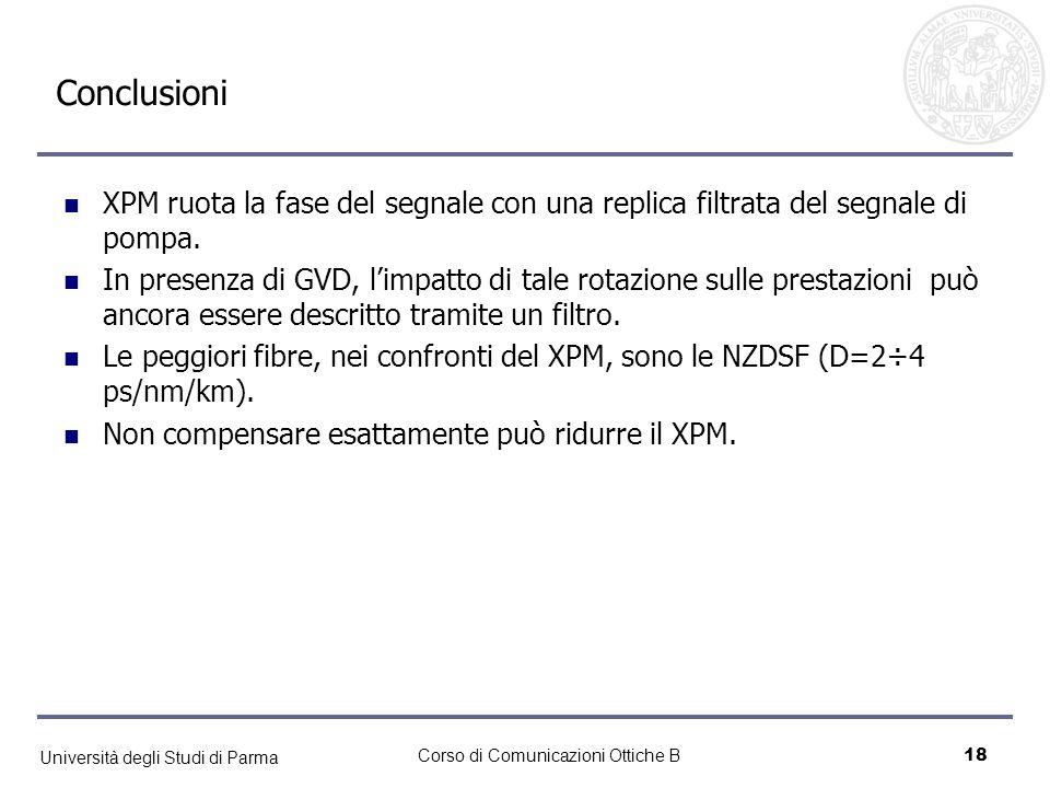 Università degli Studi di Parma Corso di Comunicazioni Ottiche B18 Conclusioni XPM ruota la fase del segnale con una replica filtrata del segnale di p