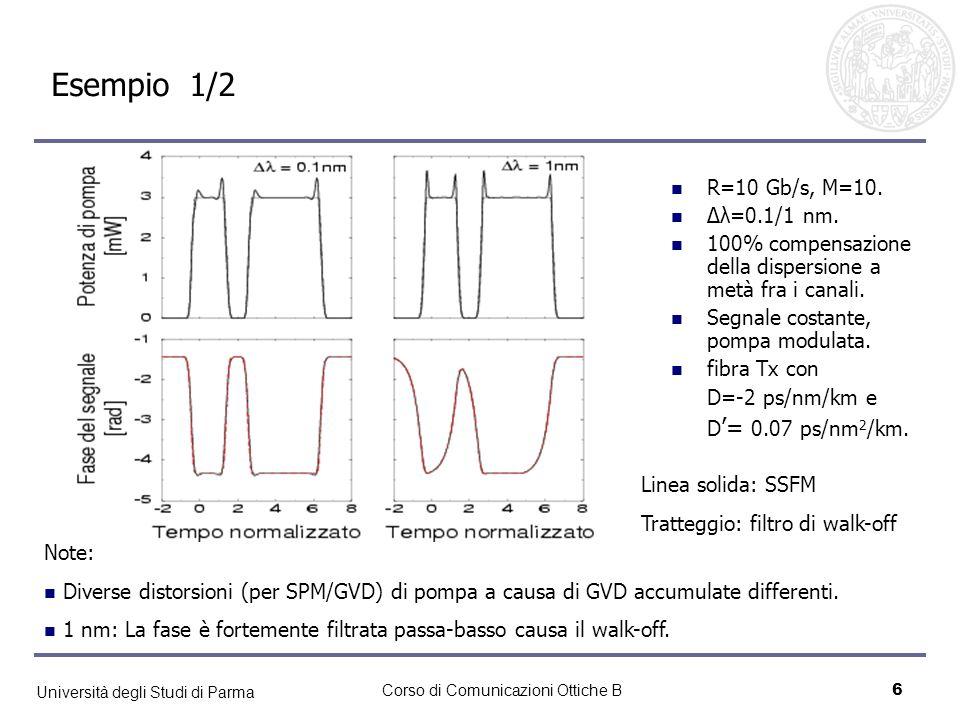 Università degli Studi di Parma Corso di Comunicazioni Ottiche B7 Esempio 2/2 Note: Per SMF walk-off molto + grande maggior filtraggio per XPM 0.1 nm: Nascita di distorsioni sulla fase.