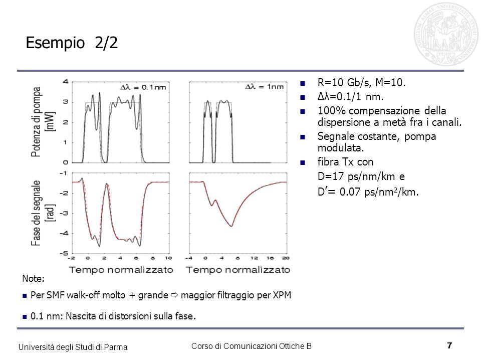 Università degli Studi di Parma Corso di Comunicazioni Ottiche B7 Esempio 2/2 Note: Per SMF walk-off molto + grande maggior filtraggio per XPM 0.1 nm:
