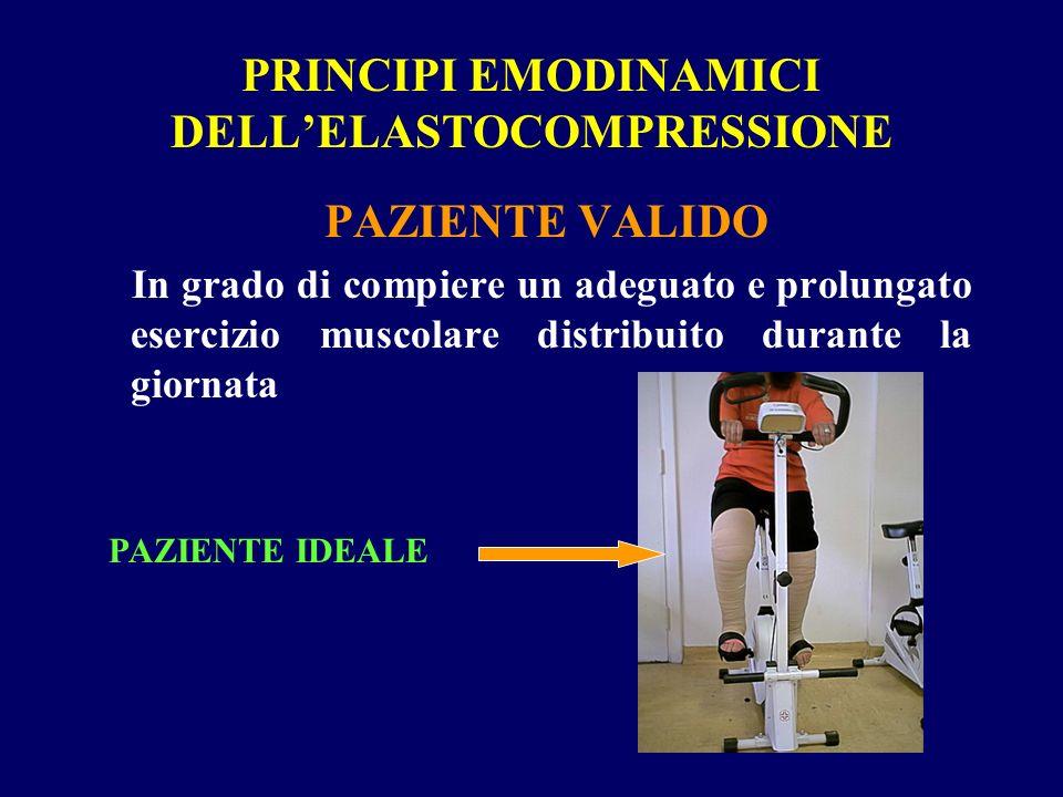 PRINCIPI EMODINAMICI DELLELASTOCOMPRESSIONE PAZIENTE VALIDO In grado di compiere un adeguato e prolungato esercizio muscolare distribuito durante la giornata PAZIENTE IDEALE