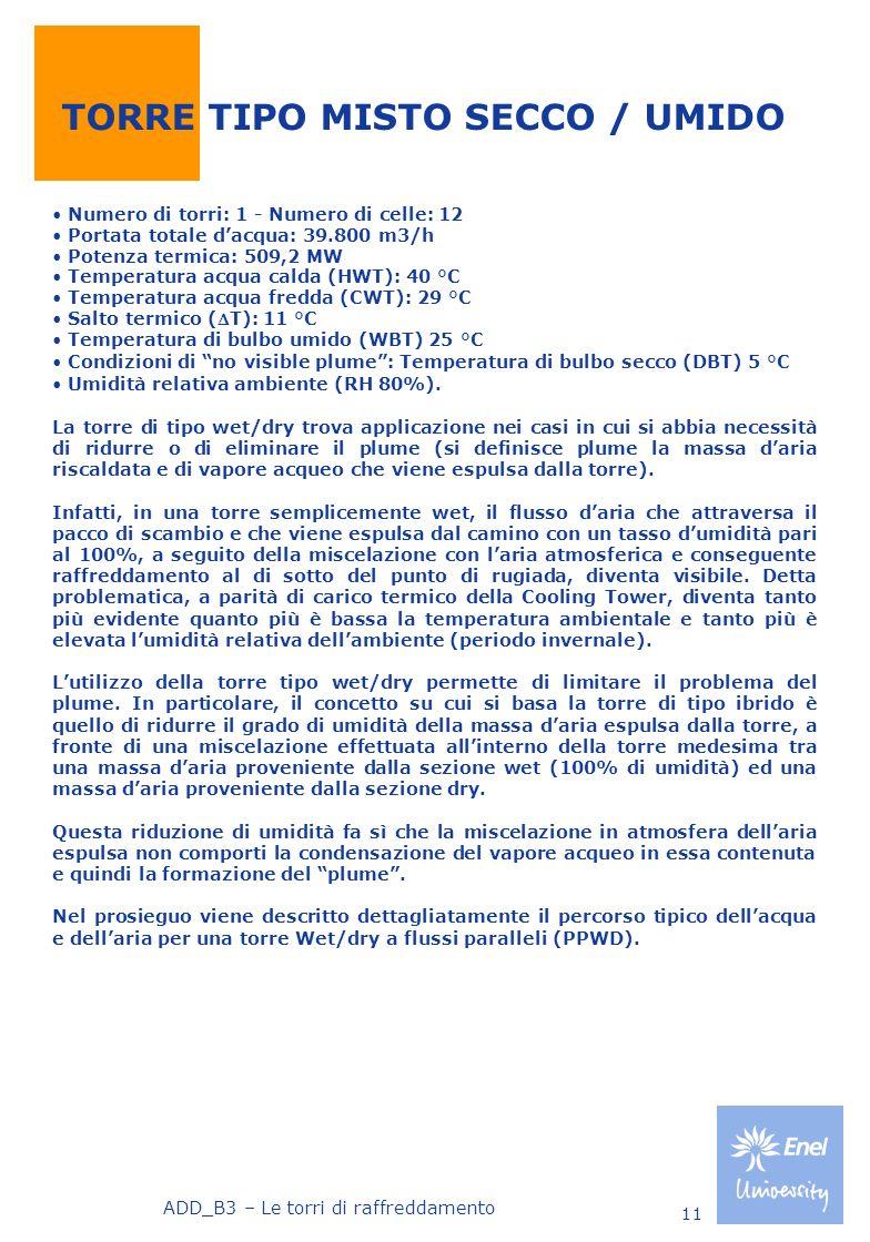 ADD_B3 – Le torri di raffreddamento 11 TORRE TIPO MISTO SECCO / UMIDO Numero di torri: 1 - Numero di celle: 12 Portata totale dacqua: 39.800 m3/h Pote