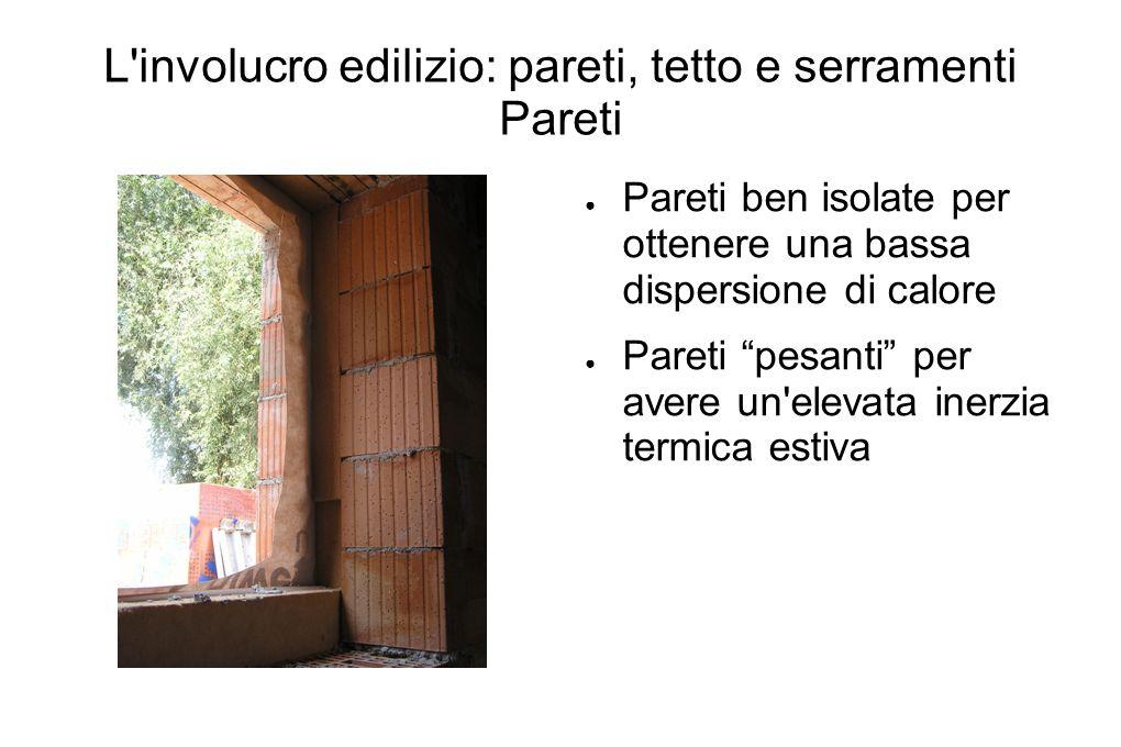 L'involucro edilizio: pareti, tetto e serramenti Pareti Pareti ben isolate per ottenere una bassa dispersione di calore Pareti pesanti per avere un'el