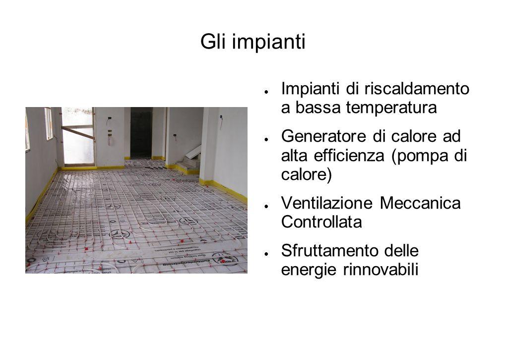 Gli impianti Impianti di riscaldamento a bassa temperatura Generatore di calore ad alta efficienza (pompa di calore) Ventilazione Meccanica Controllat