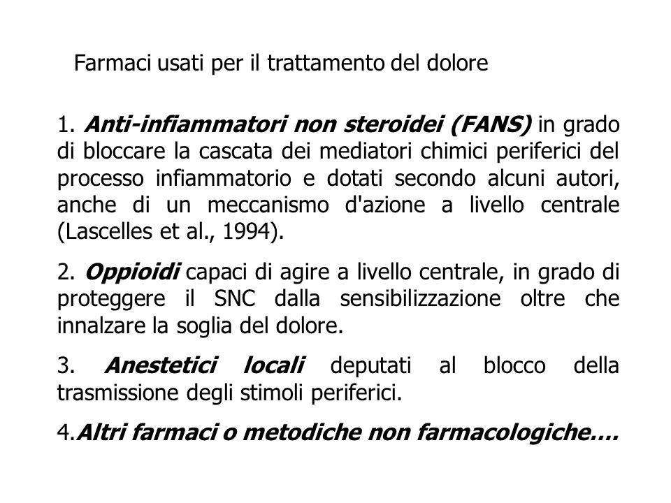 1. Anti-infiammatori non steroidei (FANS) in grado di bloccare la cascata dei mediatori chimici periferici del processo infiammatorio e dotati secondo