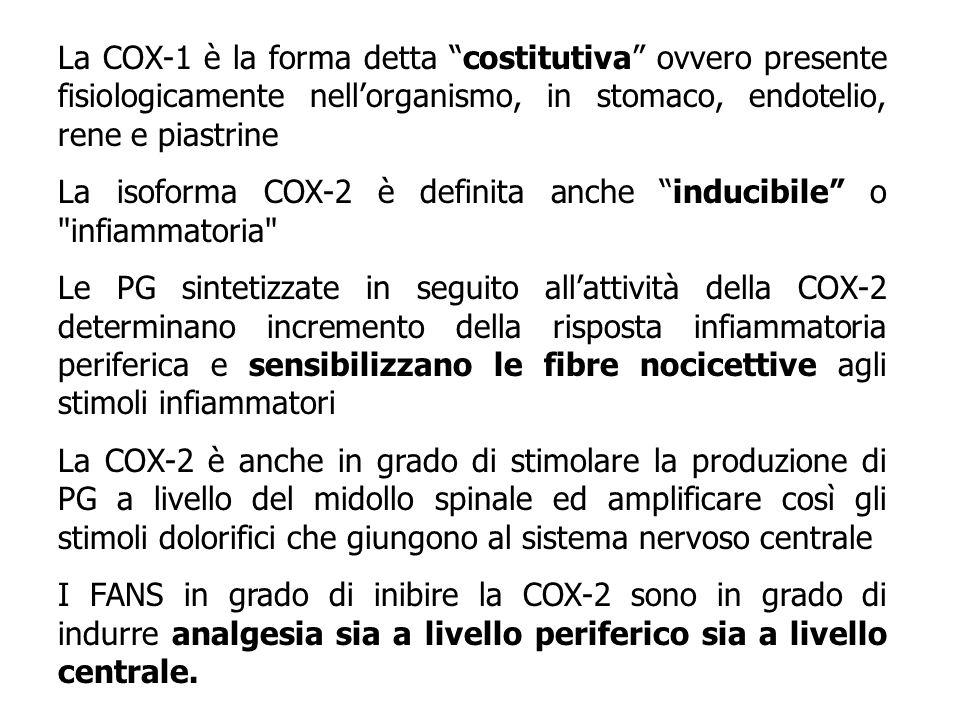La COX-1 è la forma detta costitutiva ovvero presente fisiologicamente nellorganismo, in stomaco, endotelio, rene e piastrine La isoforma COX-2 è defi