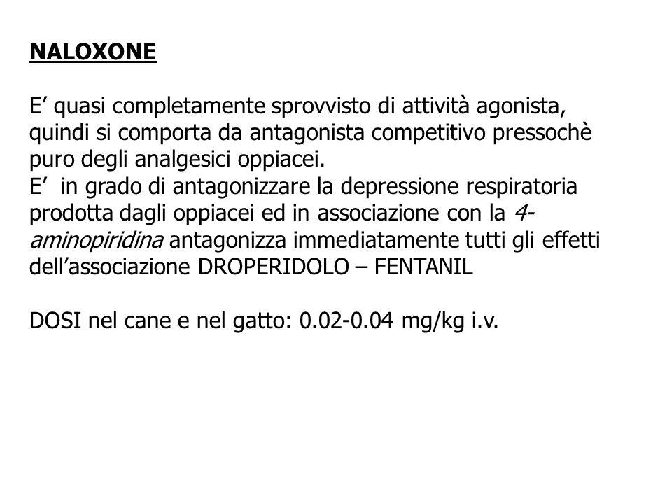 NALOXONE E quasi completamente sprovvisto di attività agonista, quindi si comporta da antagonista competitivo pressochè puro degli analgesici oppiacei