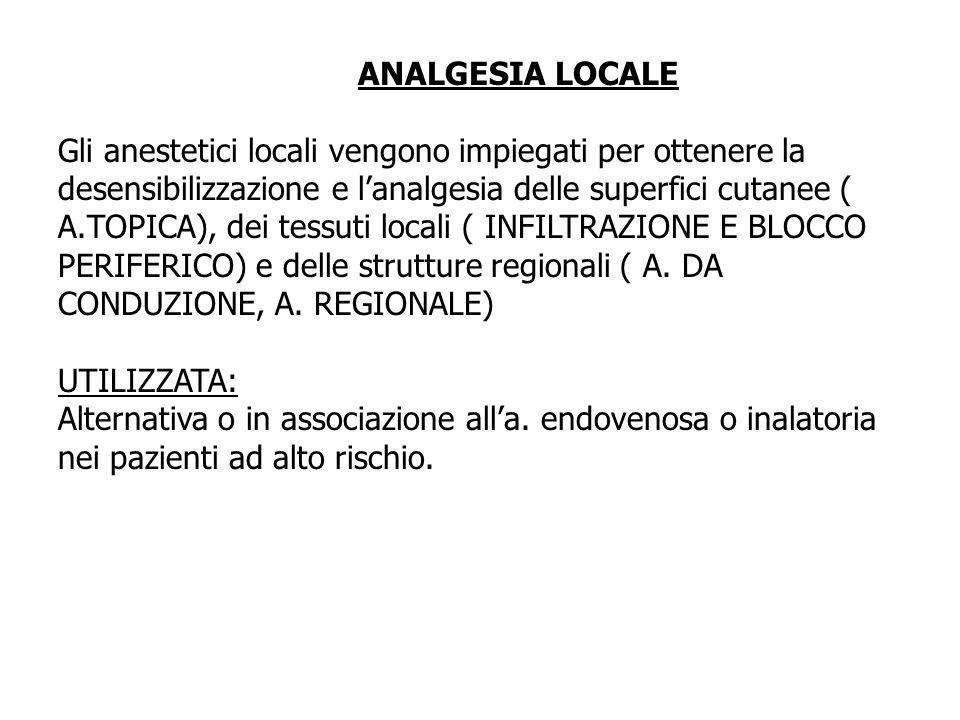ANALGESIA LOCALE Gli anestetici locali vengono impiegati per ottenere la desensibilizzazione e lanalgesia delle superfici cutanee ( A.TOPICA), dei tes