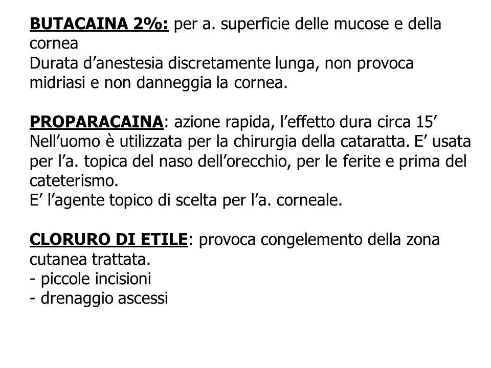 BUTACAINA 2%: per a. superficie delle mucose e della cornea Durata danestesia discretamente lunga, non provoca midriasi e non danneggia la cornea. PRO