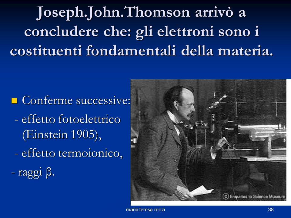 37maria teresa renzi Thomson calcolò il rapporto carica/massa dellelettrone = 1,759 x10 8 c/g. catodo Anodo forato Deflessione magnetica = Campo magne
