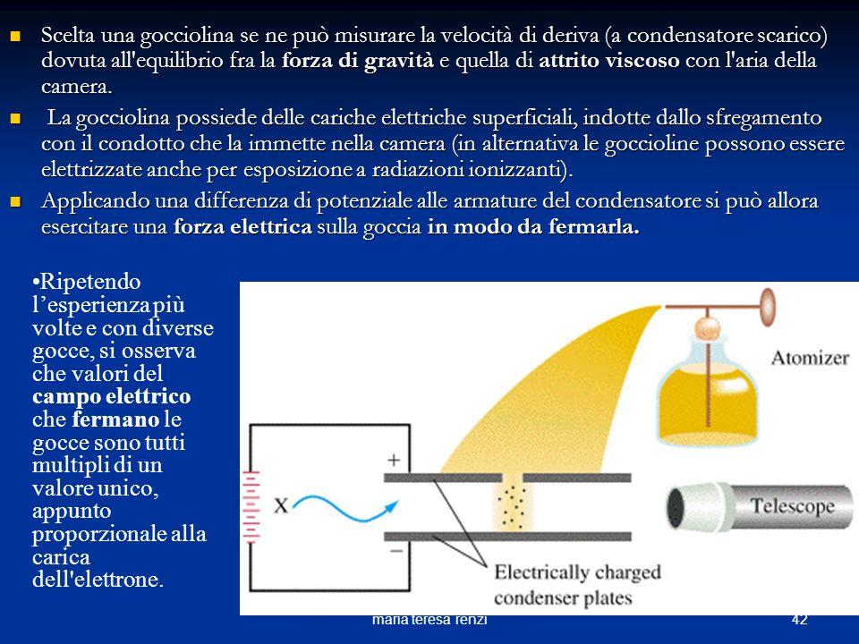 41maria teresa renzi Il dispositivo costruito da Millikan è formato da un condensatore tra le cui piastre vengono spruzzate per mezzo di un polverizza