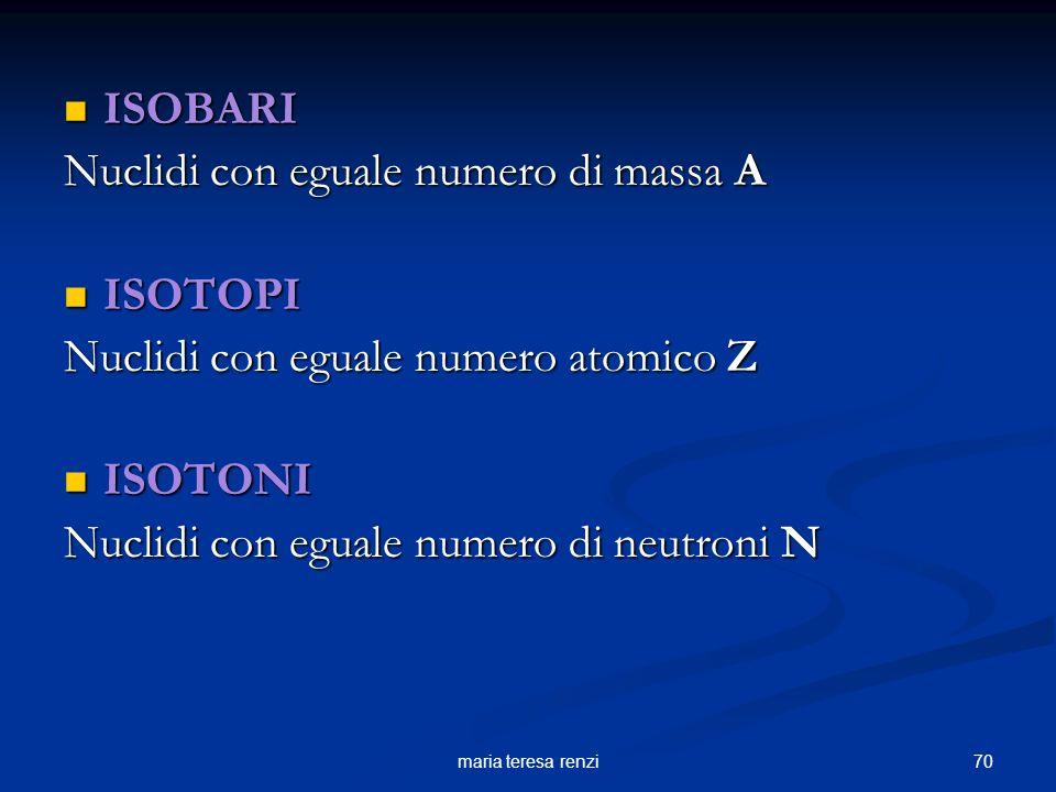 69maria teresa renzi Un nucleo atomico è caratterizzato da: numero atomico (Z) che indica il numero di protoni numero di massa (A) che rappresenta il