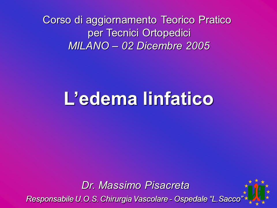 Ledema linfatico Corso di aggiornamento Teorico Pratico per Tecnici Ortopedici MILANO – 02 Dicembre 2005 Dr. Massimo Pisacreta Responsabile U.O.S. Chi