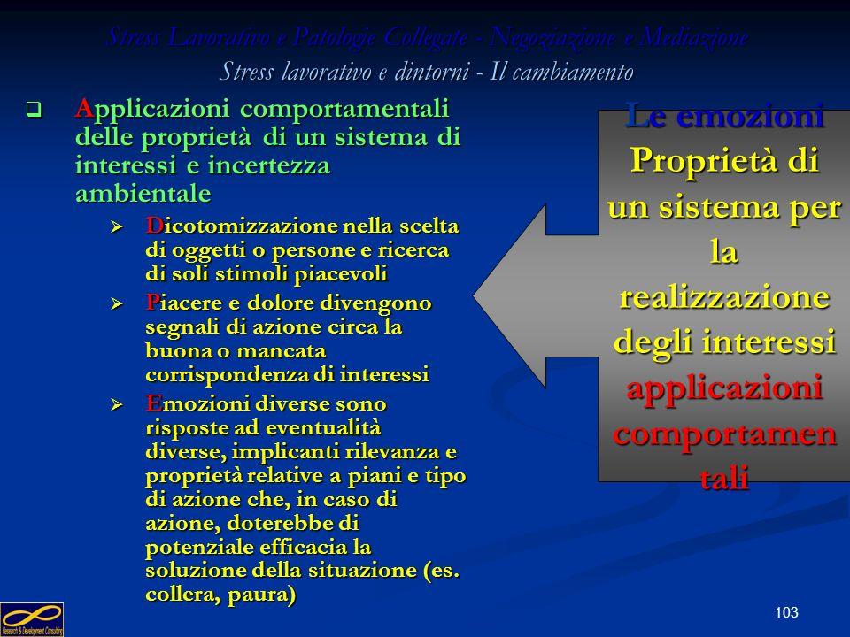 102 Stress Lavorativo e Patologie Collegate - Negoziazione e Mediazione Il processo comunicativo - strategia Imprevedibilità = Imprevedibilità = Imper