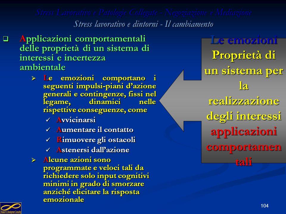 103 Stress Lavorativo e Patologie Collegate - Negoziazione e Mediazione Stress lavorativo e dintorni - Il cambiamento Applicazioni comportamentali del