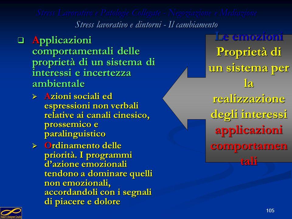 104 Stress Lavorativo e Patologie Collegate - Negoziazione e Mediazione Stress lavorativo e dintorni - Il cambiamento Applicazioni comportamentali del