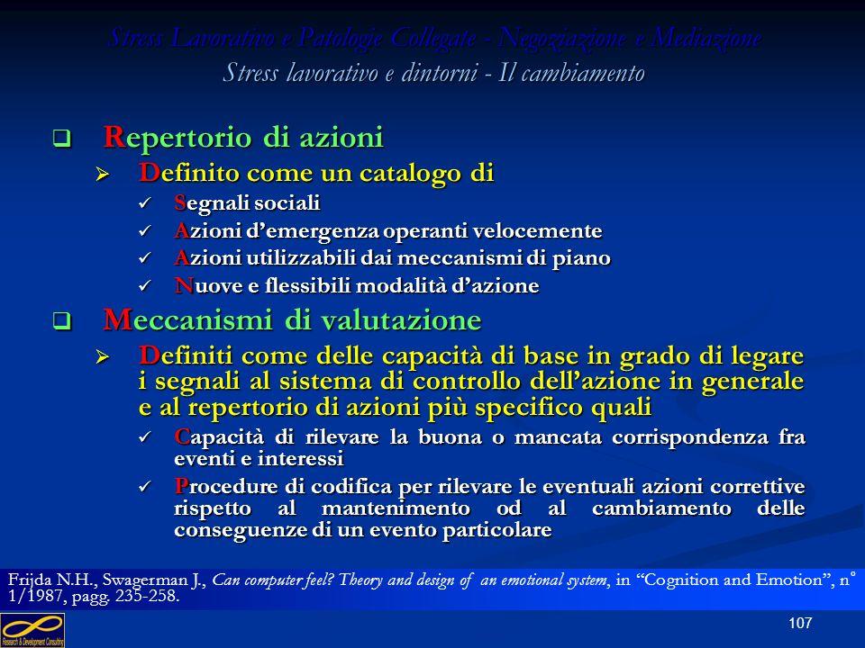 106 Stress Lavorativo e Patologie Collegate - Negoziazione e Mediazione Stress lavorativo e dintorni - Il cambiamento Interessi Interessi Definiti com