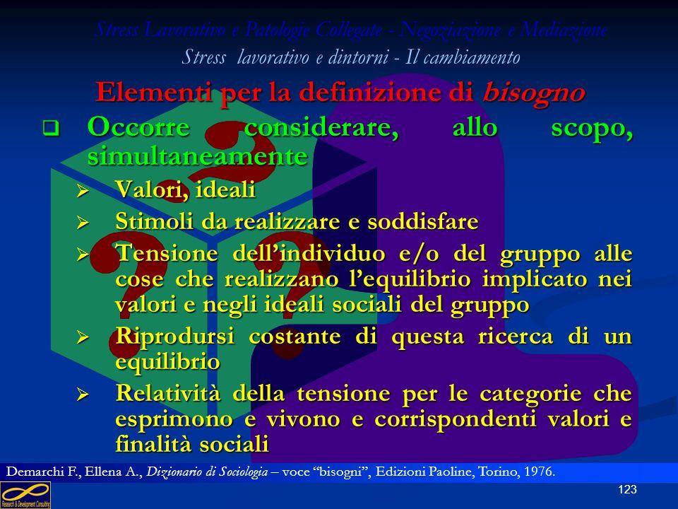 122 Elementi per la definizione di bisogno In altre parole, il bisogno-stato risulta definito come una tensione di un organismo o di un individuo o di