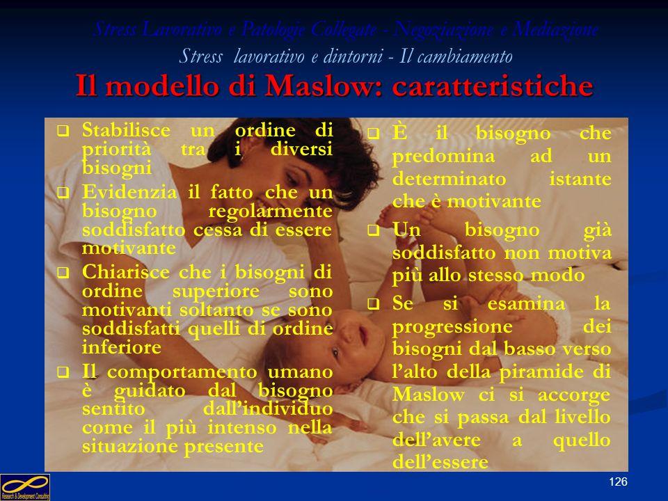 125 Tassonomia dei bisogni secondo A. H. Maslow Bisogni fisiologici Fame, sete, sonno, sesso Bisogni sicurezza Relativa conoscenza e quindi prevedibil