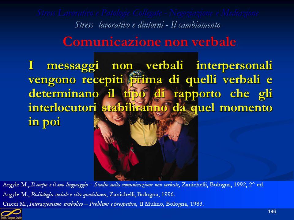 145 Stress Lavorativo e Patologie Collegate - Negoziazione e Mediazione Stress lavorativo e dintorni - Il cambiamento La comunicazione è non verbale q