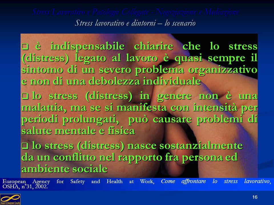 15 Stress Lavorativo e Patologie Collegate - Negoziazione e Mediazione Stress lavorativo e dintorni – lo scenario lo stress (distress) legato all'atti