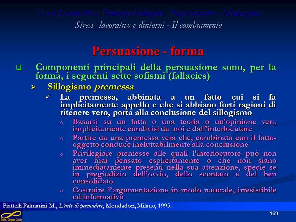 168 Stress Lavorativo e Patologie Collegate - Negoziazione e Mediazione Stress lavorativo e dintorni - Il cambiamento Persuasione - sillogismi Infine,