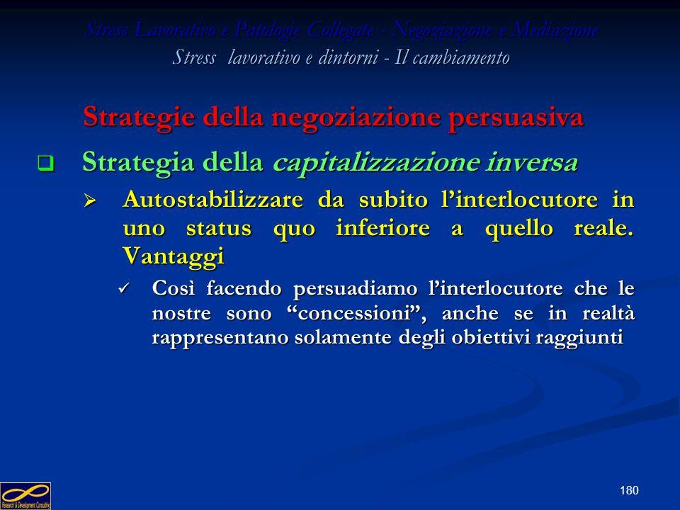 179 Stress Lavorativo e Patologie Collegate - Negoziazione e Mediazione Stress lavorativo e dintorni - Il cambiamento Strategia della capitalizzazione