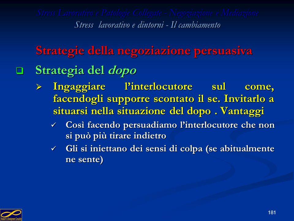 180 Stress Lavorativo e Patologie Collegate - Negoziazione e Mediazione Stress lavorativo e dintorni - Il cambiamento Strategia della capitalizzazione