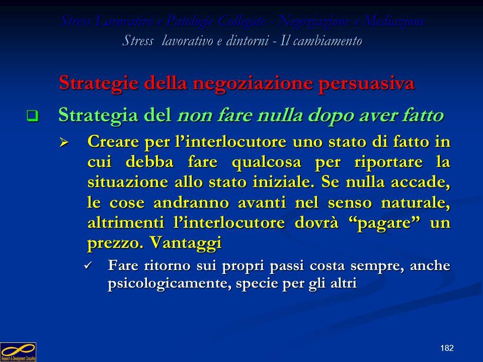 181 Stress Lavorativo e Patologie Collegate - Negoziazione e Mediazione Stress lavorativo e dintorni - Il cambiamento Strategia del dopo Strategia del