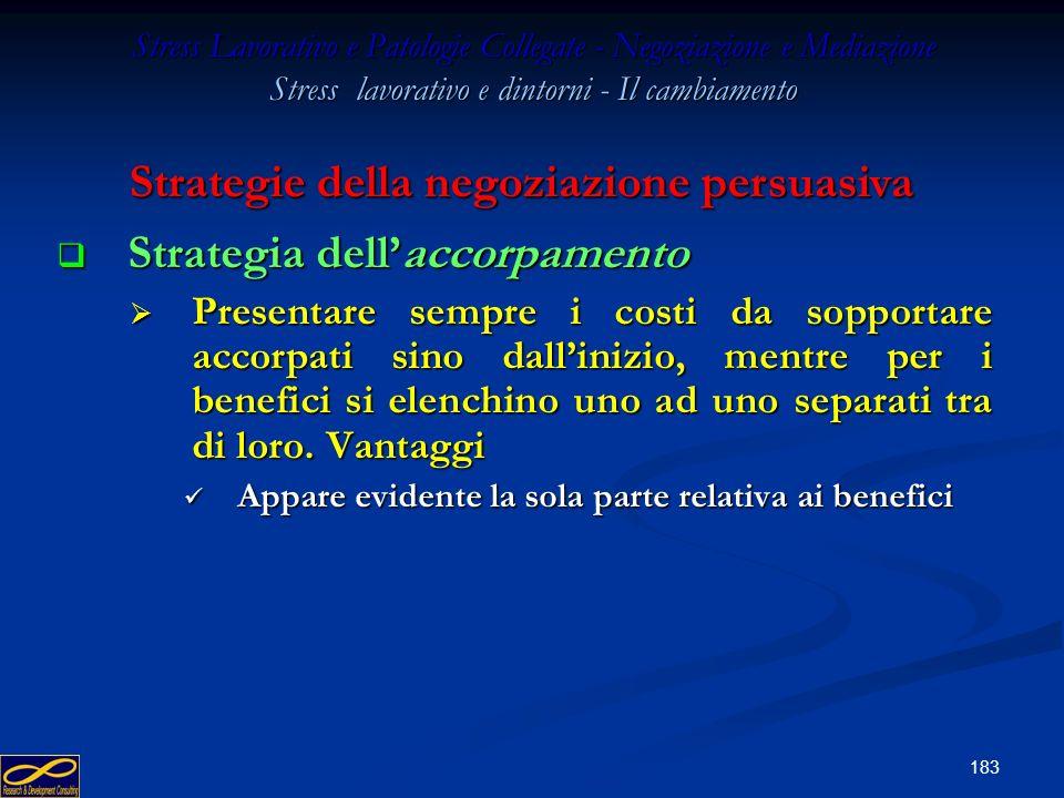 182 Stress Lavorativo e Patologie Collegate - Negoziazione e Mediazione Stress lavorativo e dintorni - Il cambiamento Strategia del non fare nulla dop