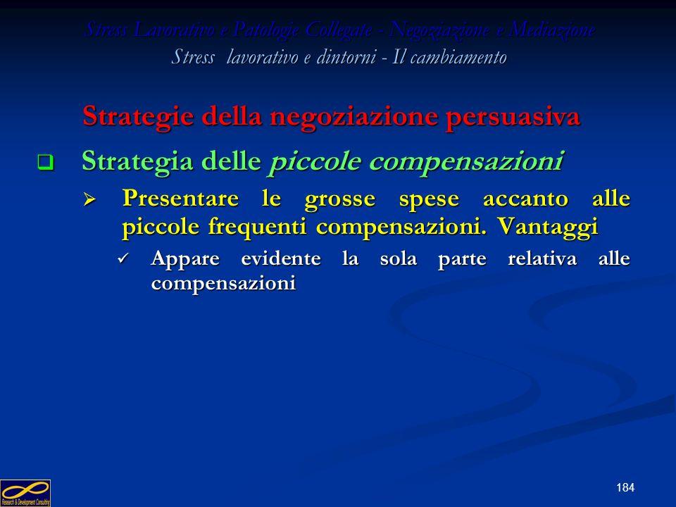 183 Stress Lavorativo e Patologie Collegate - Negoziazione e Mediazione Stress lavorativo e dintorni - Il cambiamento Strategia dellaccorpamento Strat