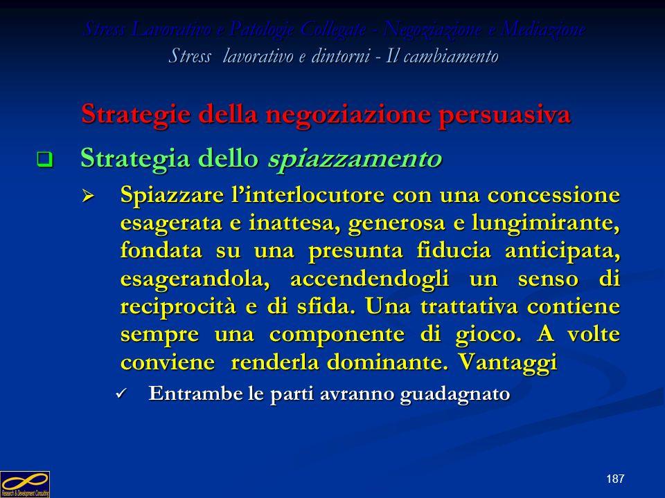 186 Stress Lavorativo e Patologie Collegate - Negoziazione e Mediazione Stress lavorativo e dintorni - Il cambiamento Strategia della migliore scelta
