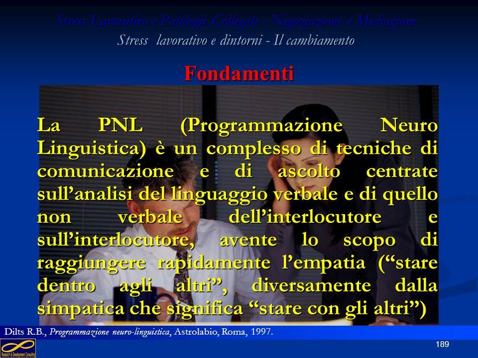 Stress Lavorativo e Patologie Collegate - Negoziazione e Mediazione Stress lavorativo e dintorni - Il cambiamento PROGRAMMAZIONE NEURO LINGUISTICA