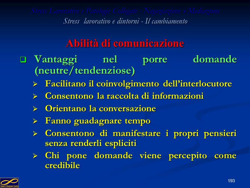 192 Stress Lavorativo e Patologie Collegate - Negoziazione e Mediazione Stress lavorativo e dintorni - Il cambiamento Abilità di comunicazione Domanda