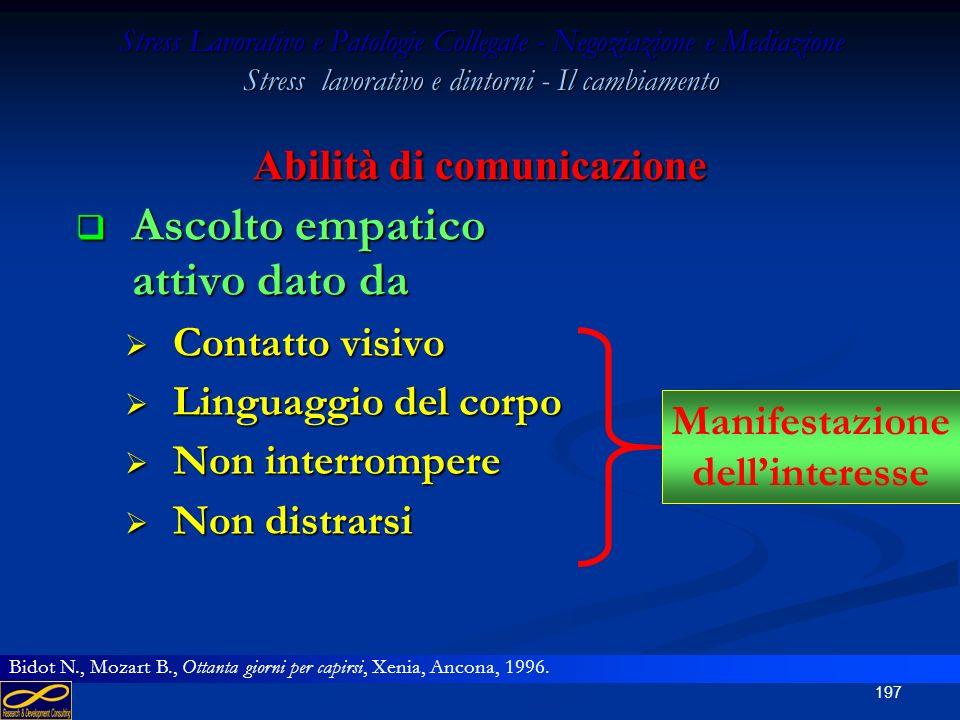 196 Stress Lavorativo e Patologie Collegate - Negoziazione e Mediazione Stress lavorativo e dintorni - Il cambiamento Ascolto empatico attivo Ascolto