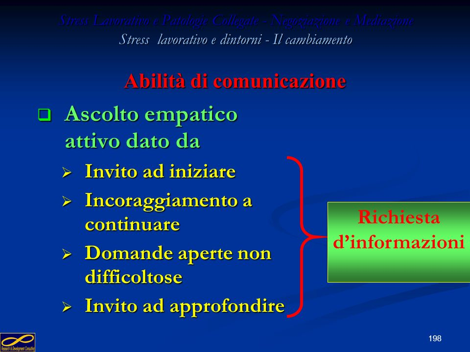 197 Stress Lavorativo e Patologie Collegate - Negoziazione e Mediazione Stress lavorativo e dintorni - Il cambiamento Abilità di comunicazione Ascolto