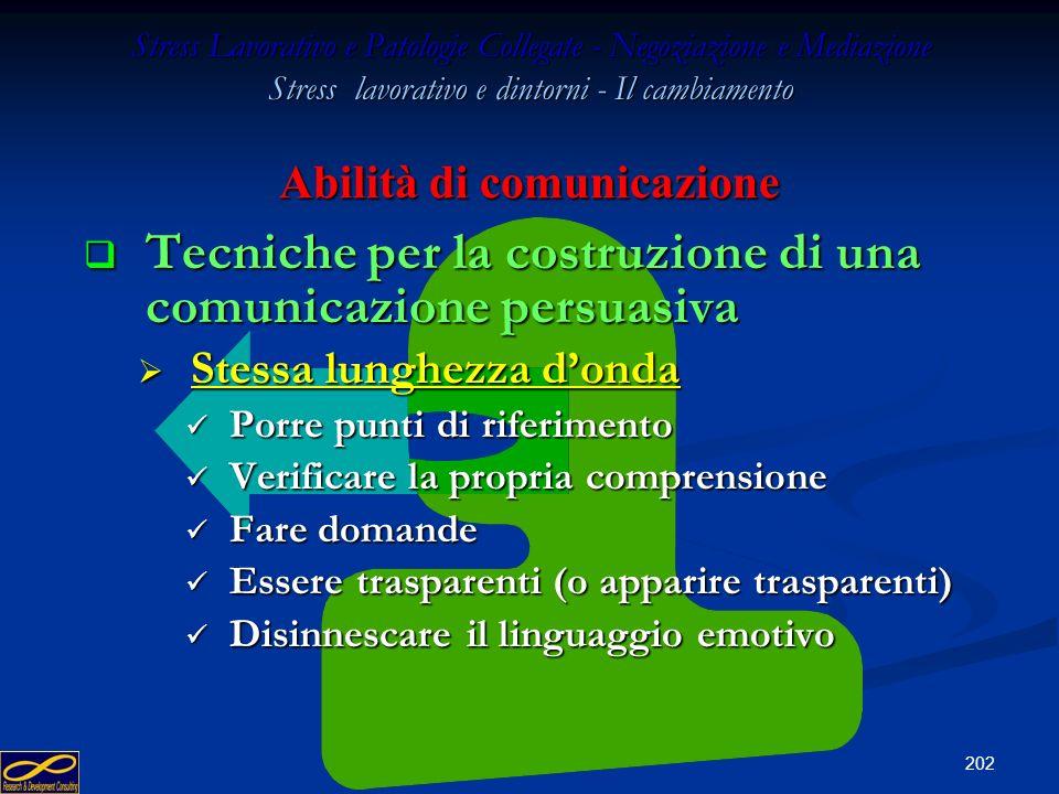 201 Stress Lavorativo e Patologie Collegate - Negoziazione e Mediazione Stress lavorativo e dintorni - Il cambiamento Abilità di comunicazione Parlare