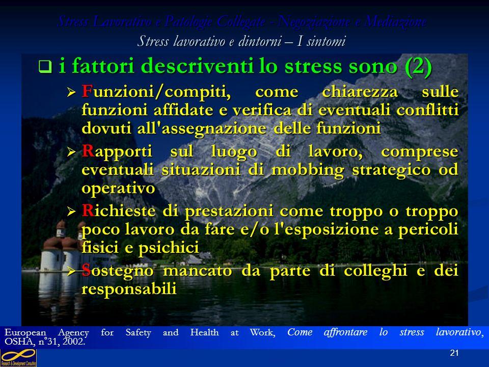 20 Stress Lavorativo e Patologie Collegate - Negoziazione e Mediazione Stress lavorativo e dintorni – I sintomi i fattori descriventi lo stress sono (