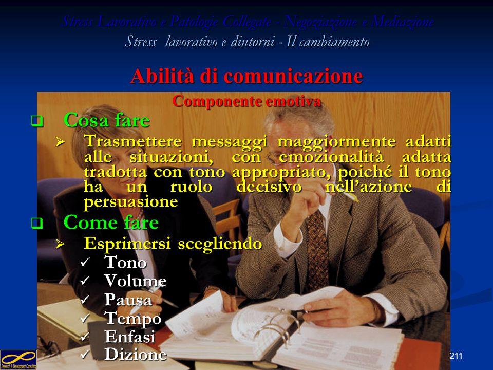 210 Stress Lavorativo e Patologie Collegate - Negoziazione e Mediazione Stress lavorativo e dintorni - Il cambiamento Abilità di comunicazione Compone