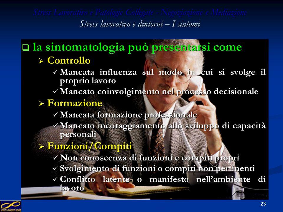 22 Stress Lavorativo e Patologie Collegate - Negoziazione e Mediazione Stress lavorativo e dintorni – I sintomi la sintomatologia può presentarsi come