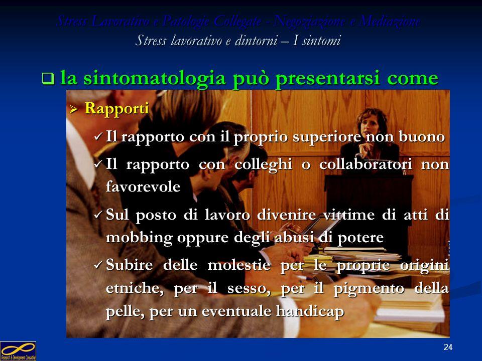 23 Stress Lavorativo e Patologie Collegate - Negoziazione e Mediazione Stress lavorativo e dintorni – I sintomi la sintomatologia può presentarsi come